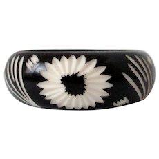 Black Cream Carved Flower Plastic Bangle Vintage