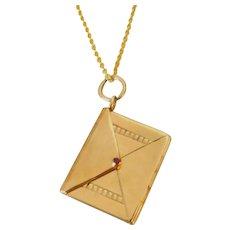 Edwardian 9ct Gold Envelope Locket Pendant