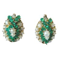 Victorian Green Paste and Pearl 10kt Rose Gold Earrings