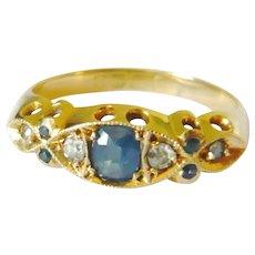 Edwardian 18kt Gold Blue Sapphire & Diamond Ring