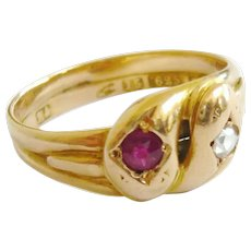 Victorian Ruby & Rose Diamond Double Snake Ring