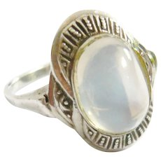 Art Deco Moonstone Sterling Silver Ring