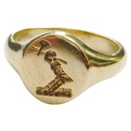 Antique 9ct Gold Arm & Axe Signet Ring
