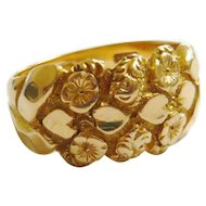 Edwardian 18ct Gold Hearts & Flowers Keeper Ring