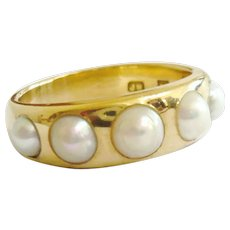 Edwardian 18ct Gold 5 Pearl Ring