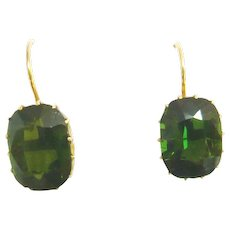 Edwardian 15ct Gold Green Tourmalines Earrings