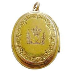 Victorian 15ct Gold Heart, Wings, Crown Locket