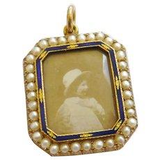 Edwardian 15ct Gold Seed Pearl & Enamel Portrait Locket