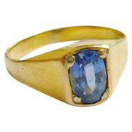 Art Deco 18ct Gold Sapphire Solitaire Ring