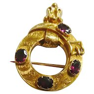 Victorian 18ct Gold Garnet Buckle Brooch