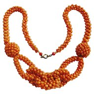 Art Deco Coral Knot Necklace