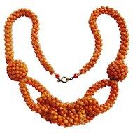 Art Deco Coral Knot Necklace