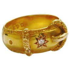 Edwardian 18ct Gold Diamond Buckle Ring