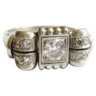 Vintage 1940s 14ct White Gold Diamond Cocktail Ring