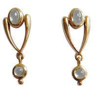 Early 20th Century 9ct Gold Pale Blue Topaz Earrings
