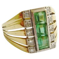 Art Deco Green Tourmaline & Diamond 14ct Gold Ring