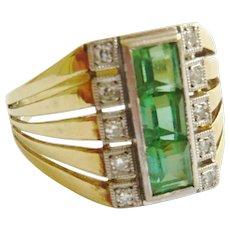 Art Deco Green Tourmaline & Diamond 14ct Gold Ring