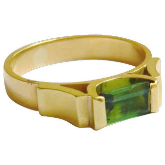 Vintage 18ct Gold Green Tourmaline Ring