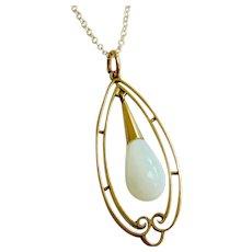 Edwardian 9ct Gold Opaline Drop Pendant