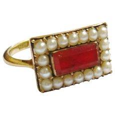 Late Georgian 18ct Gold Carnelian & Pearl Ring