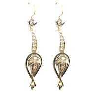 Victorian Style Rose Diamond Drop Earrings