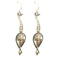 Victorian Style Rose Diamond Drop Earrings