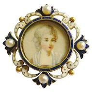 Edwardian Enamel Portrait Miniature Pendant Brooch