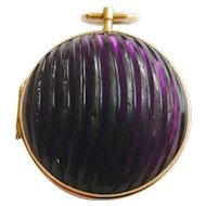 Victorian 14ct Gold Amethyst Glass Locket