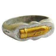 Vintage Trench Art Aluminium & Brass Artillery Shell Ring