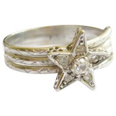 Vintage 18ct White Gold Diamond Star Ring