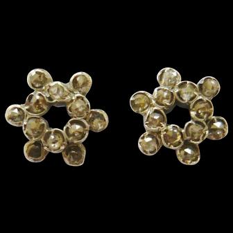 Victorian Rose Diamond Cluster Earrings