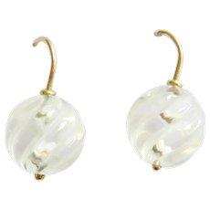 Late Edwardian 9ct Gold Rock Crystal Earrings