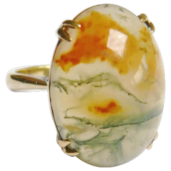 Edwardian 9ct Gold Moss Agate Ring