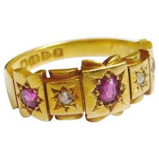 Edwardian 18ct Gold Ruby & Diamond Ring in Box