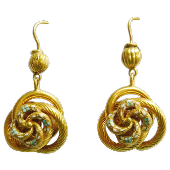 Victorian 15ct Gold Forget-Me-Not Knot Earrings