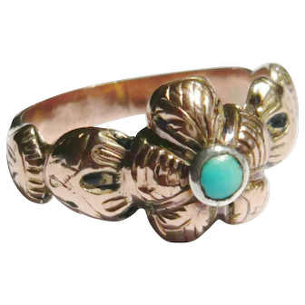 Victorian 9ct Gold Turquoise Pansy Ring