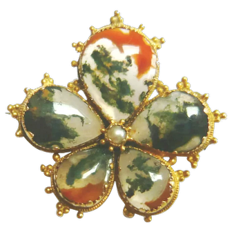 Victorian 15ct Gold Moss Agate Pansy Brooch