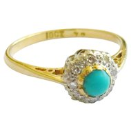 Mid 20th Century Turquoise & Diamond Cluster Ring