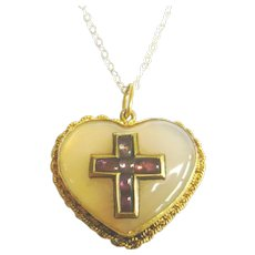 Antique 18ct Gold Quartz Heart & Ruby Cross Pendant