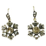 Victorian Rose Diamond Flower Cluster Earrings