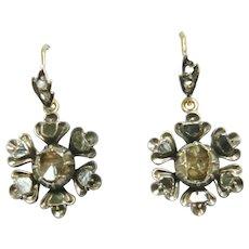 Victorian Rose Diamond Flower Cluster Earrings