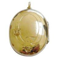 Victorian 9ct Gold Buckle & Flower Design Locket