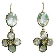 Georgian Rock Crystal Quartz Silver & Paste Silver Earrings