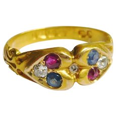 Victorian Ruby, Sapphire & Diamond Double Heart Ring