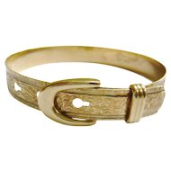 Vintage 9ct Gold Chased Buckle Bangle