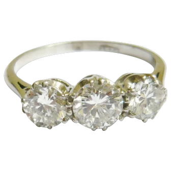 Edwardian Platinum 1.5ct Diamond Trilogy Ring