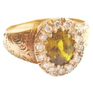 Edwardian 15ct Gold Yellow Tourmaline & Diamond Ring