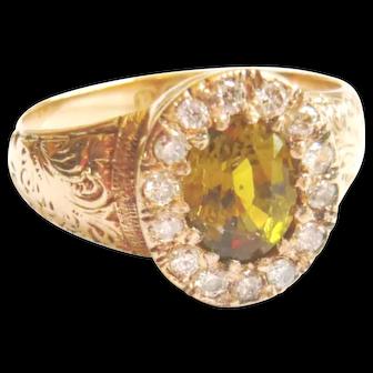 Edwardian 15ct Gold Yellow Tourmaline & Diamond Ring