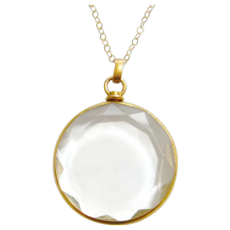 Edwardian 15ct Gold Faceted Glass Locket