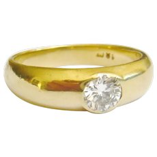 Art Deco 18ct Gold Diamond Gypsy Ring